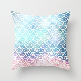 Mermaid Scales Turquoise Pink Sunset Throw Pillow