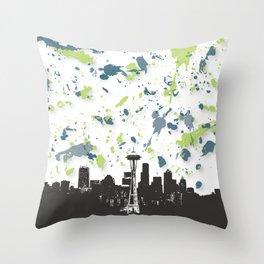 Seahawks Seattle Skyline Throw Pillow