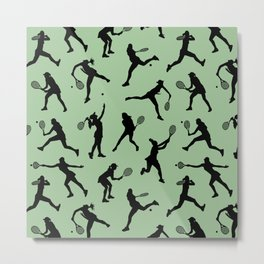 Tennis Players // Light Green Metal Print