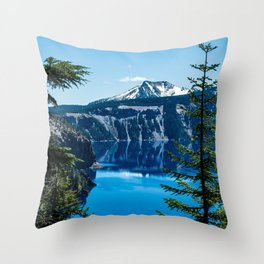 Crater Lake // Incredible National Park Views of the Dark Blue Waters Sky and Mountains through the Throw Pillow