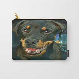 Rottweiler Pup - Waiting for the Train Carry-All Pouch