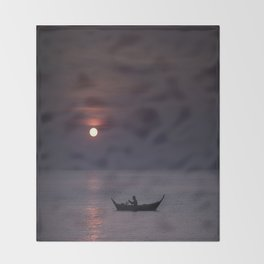 Rowing into the sunset Throw Blanket