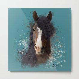 Black Brown Horse Artwork Metal Print
