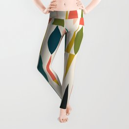 Mid Century Modern Abstract Colorful Shapes Funky Cool Minimalist Pattern Leggings