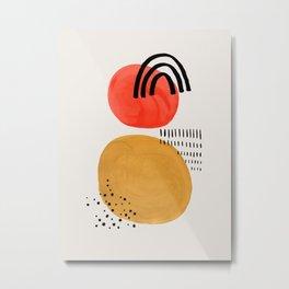 Floating Sun Yellow & Orange Mid Century Modern Colorful Minimalist Shapes Patterns by Ejaaz Haniff Metal Print