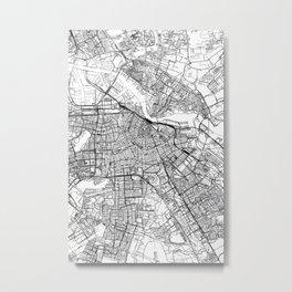 Amsterdam White Map Metal Print