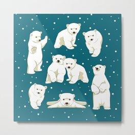 Cute Polar Bear Cubs Metal Print