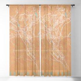 Merthyr Tydfil, Wales, Gold, Blue, City, Map Sheer Curtain
