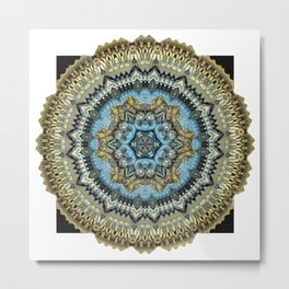 Blue Squirrel Mandala Metal Print