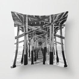 Balboa Pier Print {3 of 3} | Newport Beach Ocean Photography B&W Summer Sun Wave Art Throw Pillow