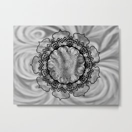 Gray Swirl Mandala Metal Print