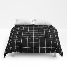 Grid Simple Line Black Minimalistic Comforters