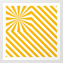 Stripes explosion - Yellow Art Print
