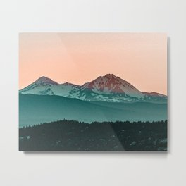 Grainy Sunset Mountain View // Textured Landscape Photograph of the Beautiful Orange and Blue Skies Metal Print