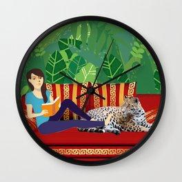 Jungle Dream With Leopard Wall Clock