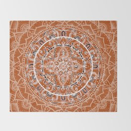 Detailed Burnt Orange Mandala Throw Blanket
