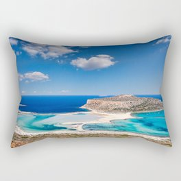 The unbelievable beauty of Balos Lagoon with Cap Tigani in Crete, Greece Rectangular Pillow