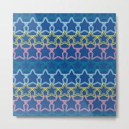 Multicolored star aligned with dotted border Metal Print