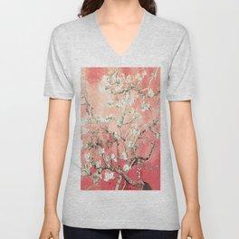 Van Gogh Almond Blossoms : Peach Unisex V-Neck