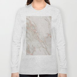 Marble Rose Gold Blush Pink Metallic by Nature Magick Long Sleeve T-shirt