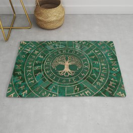 Tree of life -Yggdrasil and Futhark - Malachite Rug