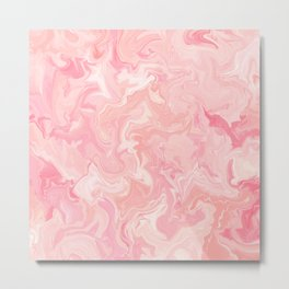 Blush pink abstract watercolor marble pattern Metal Print