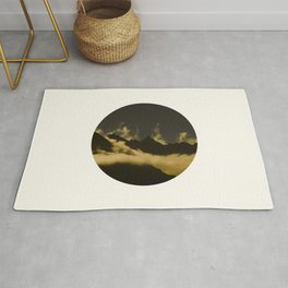 Mid Century Modern Round Circle Photo Graphic Design Mysterious Black Mountains With Rising Clouds Rug