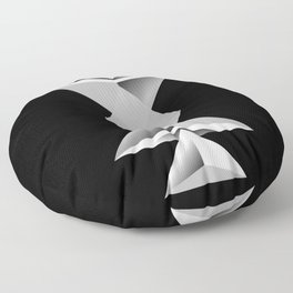 Rays - Black White Abstract Geometry Floor Pillow