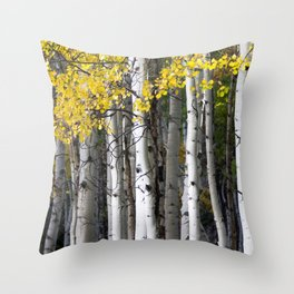 Yellow, Black, and White // Aspen Trees in Crested Butte Throw Pillow