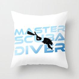 Master Scuba Diver Dive Ocean Swim Hobby Men Gift Throw Pillow
