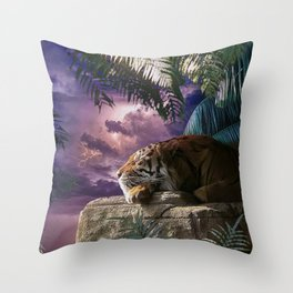 Big Cat Tiger In Jungle With Lightning Throw Pillow