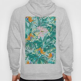 Bird of Paradise Hawaii Rainforest Tropical Leaves Pastels Hoody