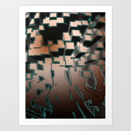 Neon Extrusion I - Cyberpunk Abstract Design Art Print