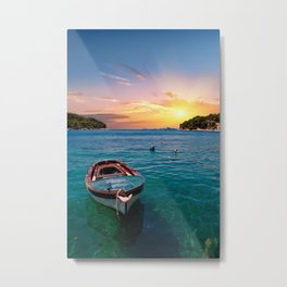 Blue Boat on Blue Water Metal Print
