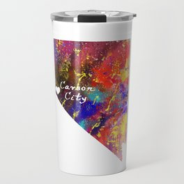 Carson City Love Heart maps Watercolor Design Travel Mug