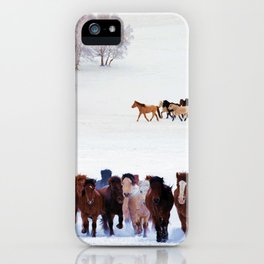 horses in snow photography2 iPhone Case