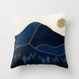 Mt Hood Sapphire Blue Wilderness Throw Pillow