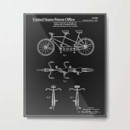 Tandem Bicycle Patent - Black Metal Print