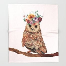 Owl with Flowers Throw Blanket