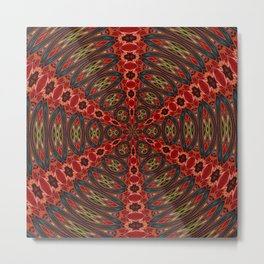 Red, Green And Gold Kaleidoscopic Abstract Metal Print