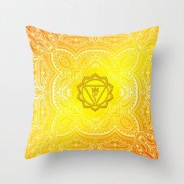Solar Plexus Chakra Mandala Throw Pillow