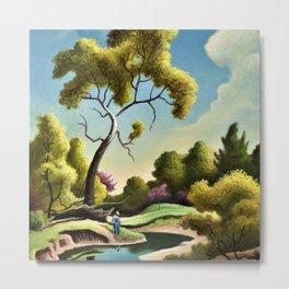 Classical Masterpiece 'Clay Country Farm' by Thomas Hart Benton Metal Print