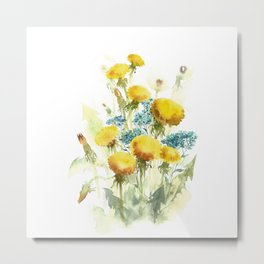 Watercolor flowers of blowball and forget-me-not Metal Print