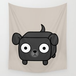 Pitbull Loaf - Black Pit Bull with Floppy Ears Wall Tapestry