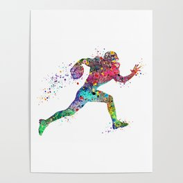 Football Player Sports Art Print Watercolor Print American Football Poster
