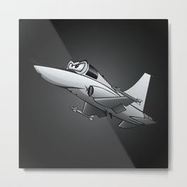 Twinjet Supersonic Aircraft Cartoon Metal Print