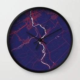 Levis, QC, Canada, Blue, White, City, Map Wall Clock