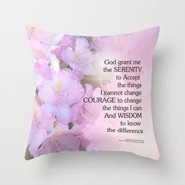 Serenity Prayer Rhododendron Glow Throw Pillow