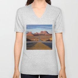 Monument Valley Desert Road Valley Drive Highway Route Arizona-Utah border Photograph Unisex V-Neck