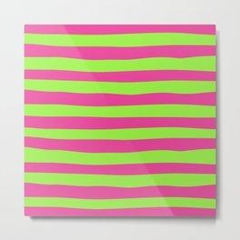Fuchsia & Neon Green Stripes Pattern Metal Print